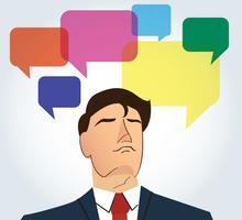 Porträtt av affärsman med färgstarka chattlåda bakgrund vektor