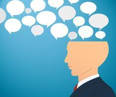 Geschäftsmann Kopf mit Chat Box Vektor