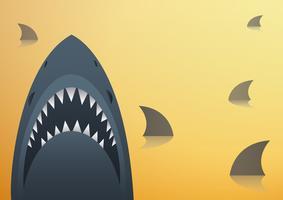 Haifischvektorillustration und Raumhintergrund