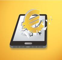 Euroikone, die Schirm Smartphonevektor durchbricht