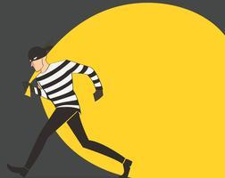 Dieb in einer Maskencharaktervektor-Banditenkarikaturillustration mit Räubertaschehintergrund