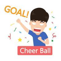 Vektor illustration av fotbollsfans glada fira mål