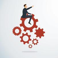 Affärsman på växlar ikonen vektor. Affärsidé illustration