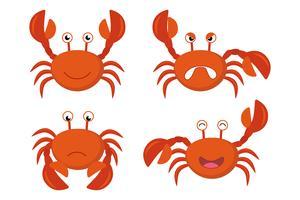 Gullig tecknad röd krabbor vektor uppsättning - Vektor illustration