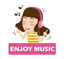 Illustration vektor av tecknad tjej som lyssnar på musik på hörlurar - njuter av livet.