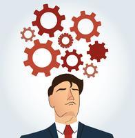Porträtt av affärsman med kugghjul ikon bakgrund