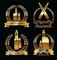 Elemente für Vapor Bar und Vape Shop elektronische Zigarette vektor