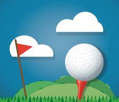 Golfball auf dem Boden und Hintergrundvektor der roten Fahne