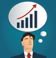 Porträt des Geschäftsmannes denkend mit hoher Diagrammikone. Unternehmenskonzept