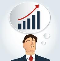 Porträt des Geschäftsmannes denkend mit hoher Diagrammikone. Unternehmenskonzept vektor