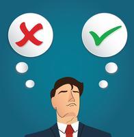 Porträt des Geschäftsmannes treffen Entscheidung, wahr oder falsch