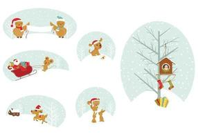 Weihnachten Tier Tags Vector Pack