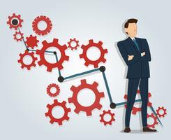 Framgångsrik affärsman som står med korsade armar och redskap med hög druvbakgrund vektor