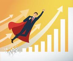 affärsman och röd cape Bryta väggen till framgångsrik vektor. Affärsidé illustration