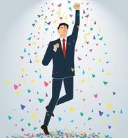affärsman firar en framgångsrik prestation. Affärsidé illustration