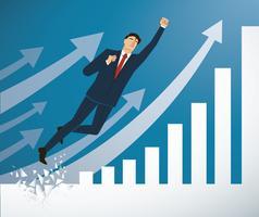 Geschäftsmann, der die Wand zum erfolgreichen Vektor bricht. Geschäftskonzept Illustration