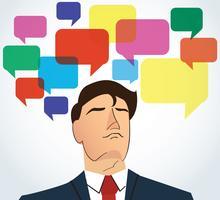 Porträt des Geschäftsmannes mit buntem Chatboxhintergrund