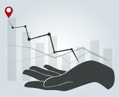 große Hand, die hohes Diagramm, Geschäftskonzepthintergrund hält vektor