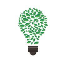 grüne Blätter im Glühlampeformvektor, Naturkonzept, Weltumwelttag
