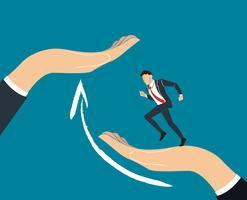 Hjälpande hand. Affärsman kör till framgång. affärsidé