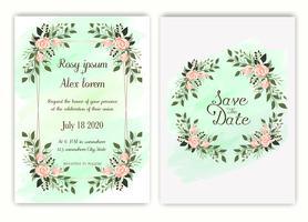 Bröllopinbjudan, inbjudan, spara datumkortdesignen med elegant lavendel trädgårdsanemon. vektor