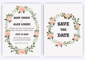 Bröllopinbjudan, inbjudan, spara datumkortdesignen med elegant lavendel rosa trädgårdsrosanemon. vektor