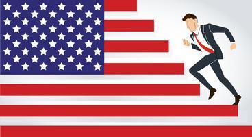 Geschäftsmann läuft USA, läuft Amerika