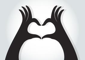 Hände machen einen Herzsymbolvektor