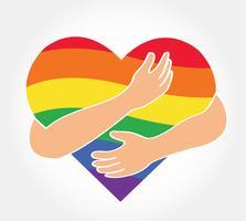 Umarmen des Regenbogenherzvektors, Liebe LGBT-Regenbogenflagge in der Herzform