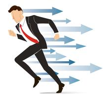 löpande affärsman, uppnå affärsidé vektor