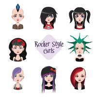 Samling av kvinnliga avatarer med rocker-stil vektor