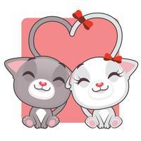 Söt kattungar i kärlek vektor