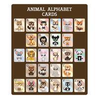 Roliga pedagogiska alfabetkort vektor