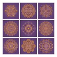 Mandalasammlung auf violettem Hintergrund