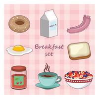 Sammlung verschiedene Frühstücksnahrungsmitteleinzelteile
