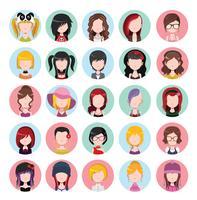Plana färgade kvinnors ikoner vektor