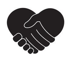 håller handen i hjärtformad vektor
