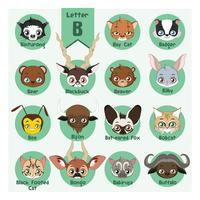 djurporträtt alfabet - bokstav b