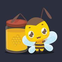 Söt liten bi står bredvid en burk honung