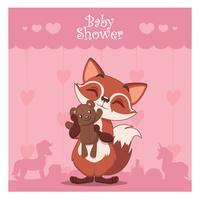 Baby shower kort med en söt räv som håller en nallebjörn vektor