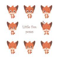Samling av söt liten räv poserar vektor