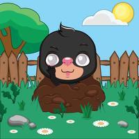 Lustige kleine Mole in einem Garten den Betrachter verspottend