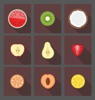 Einfache Illustration von Fruchthälften mit langem Schatten vektor
