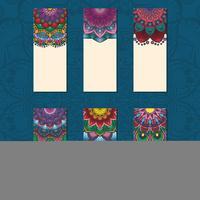 Samling av färgglada mandala kort