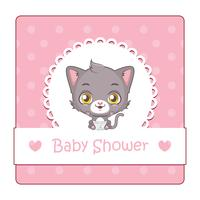 Söt tecken för baby shower med katt