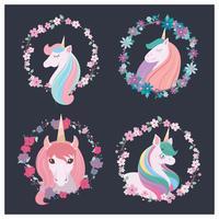 Samling av fyra vackra enhörningar