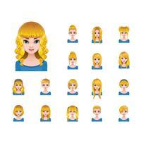 Blond kvinna med olika frisyrer