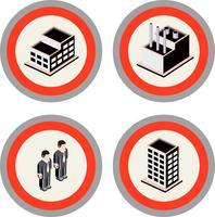 Satz städtische Gebäude, Fabriken und Bewohnerikonen der Stadt vektor