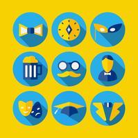 Verschiedene Symbole im flachen Stil
