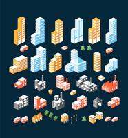 stor uppsättning isometriska byggnader